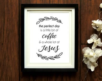 Jesus and Coffee Printable, printable Christian wall art, Jesus Coffee print, Christian gifts