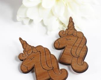 Wood Brooch Unicorn