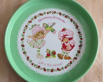Vintage Strawberry Shortcake serving tray 'Life is the berries!' Lime Chiffon with Parfait & Strawberry Shortcake with Custard