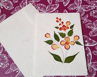 Pressed flower card - preserved flower - pressed leaves - blank card - mulberry paper - handmade card