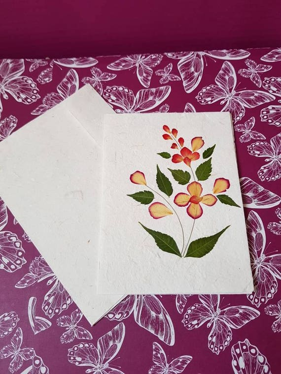 Pressed flower card - preserved flower - pressed leaves - blank card - mulberry paper - handmade card