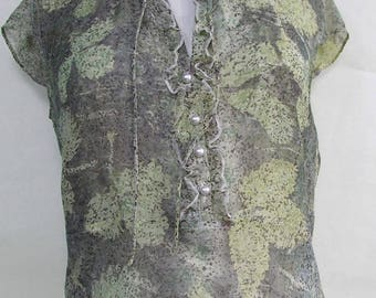 Ecoprinted silk top, strawberry leaves, natural dyeing, upcycled, size UK 8