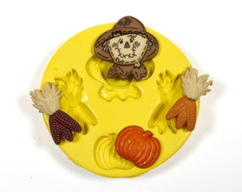 1686 Scarecrow maize corn pumpkin Fall Autumn Harvest Silicone Rubber Food Safe Mold Mould, fondant, resin, candy, chocolate, cake topper