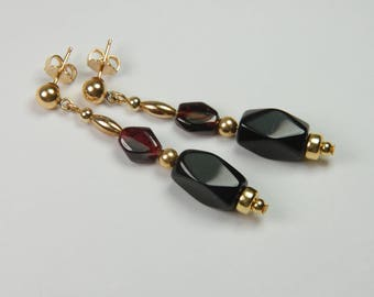 Long Black Earrings Gold Dangle Earrings Black Beaded Earrings Garnet Earrings Long Gold Earrings