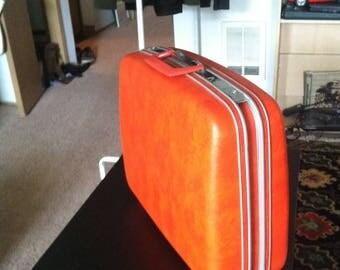 Samsonite Vintage Luggage Suitcase 60s 70s Orange Hardshell Top Handle Retro Travel Cary On American Made Denver Plastic Silhouette retro
