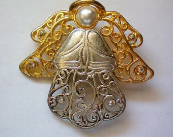 Silver and Gold tone Angel Pin for the Christmas Holidays - 5620