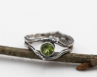 Sterling Silver Peridot Twig Ring - ANY SIZE - twig ring - silver woodland ring - handmade twig ring - green stone ring