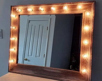 Large Vanity Mirror Reclaimed Driftwood Beveled Horizontal Style Beauty Makeup Room Lights