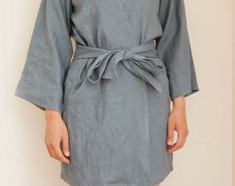 Womens linen robe, linen kimono robe, linen clothing, linen sleepwear, CollectionWN