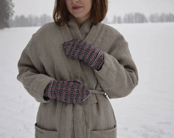 Hand knitted mittens, gift for her, wool mittens, nordic mittens, womens mittens, CollectionWN, size S