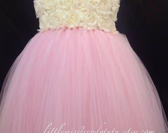 Pink Tutu Dress, Blush Pink Flower Girl Tutu Dress, Pink Flower Tutu Dress,  Flower Girl Dress Blush, Birthday Tutu Dress, Light Pink Tutu