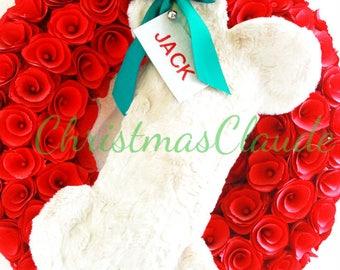 Ready to ship Christmas dog stocking, white bone-shaped pet stocking, Personalized white fur Christmas stocking