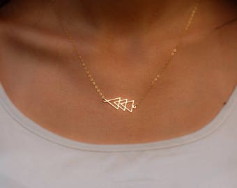 Triangle Necklace - Three triangle pendant suspended on a delicate gold filled chain, Geometric Necklace, Delicate Necklace