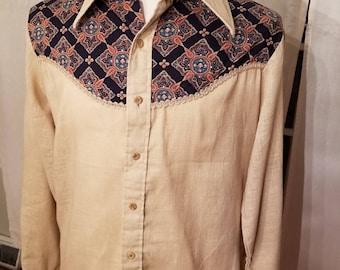 FREE  SHIPPING   1970  men  Paisley  Mod  Shirt