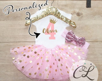 Fourth Birthday Tutu Shirt Outfit / Baby Girl Clothes 4 Year Old Outfit Four Birthday Set 4th Birthday Girl Outfit Bow Princess Crown 067