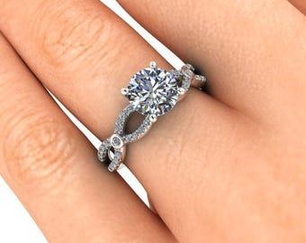 Moissanite Engagement Ring, Infinity Band, Platinum and Diamonds, Unique, Sculptural, Contemporary, Ethical Diamonds, Diamond Alternative