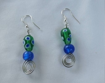 Blue and Green Glass Earrings