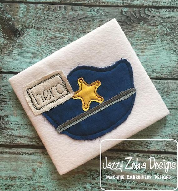Hero Policeman Hat shabby chic appliqué embroidery design - policeman appliqué design - police appliqué design - shabby chic appliqué design