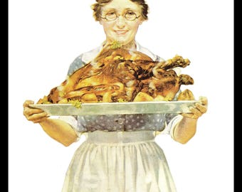 Norman Rockwell Art Print, Mother Carrying Roasted Turkey on a Platter, Thanksgiving Dinner, 1919 Vintage Illustration