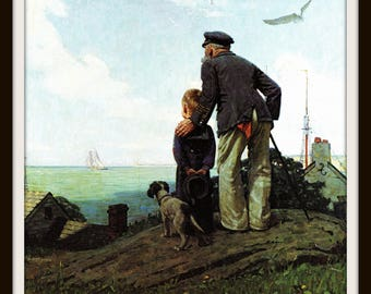Norman Rockwell Art, Looking Out to Sea, 1919 Vintage Nautical Illustration, Grandfather and Grandson, 8 x 10 Wall Art, Maritime Home Decor