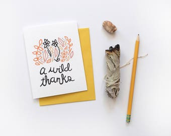 A Wild Thanks Card, Thank You Card, Floral Thank You Card