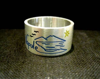 Band ring silver with drawing
