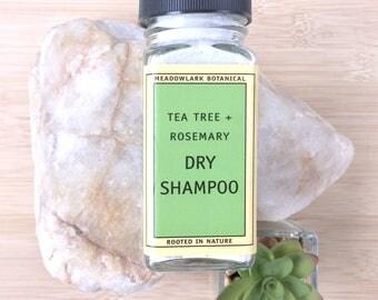 Organic Dry Shampoo w. Tea Tree + Rosemary | Natural Dry Shampoo Powder | Vegan Shampoo for Oily Hair | Travel Shampoo | Organic Hair Care