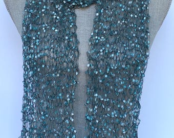 Teal Scarf, hand knit