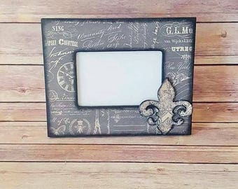 Picture Frame - Vintage Print Frame - French Country Decor - Up Cycled - Eco Friendly - READY TO SHIP