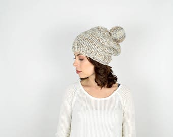 Slouch Chunky Knit Hat Beanie // The CASCADE // Fossil