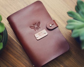 SALE 50% Personalized Leather journal, Notebook, Travel Diary, Journal, Sketchbook, Brown stain, wanderlust honey bee,  Custom name initials