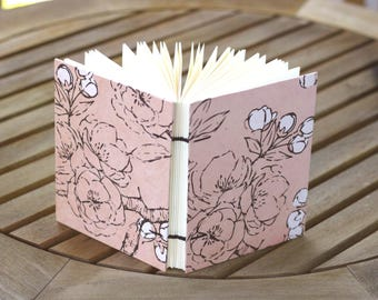 Pink Flowers Blank Journal, Coptic Stitch Binding, Handmade Notebook, Sketchbook, Diary