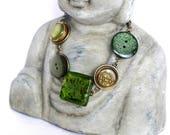Bracelet green, button bracelet, boho jewelry, metal bracelet, button art, greenery, button jewelry, women gift, for wife, best friend