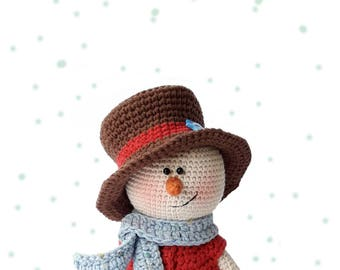 Amigurumi Pattern Snowman with Christmas tree Crochet Christmas doll pattern PDF DIY Christmas toy decor Gift for children Kevin the Snowman