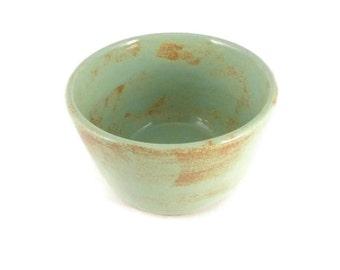 Green and tan bowl - small bowl - snack bowl - pottery bowl