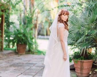 Southern Charm- bridal veil - english net bridal veil - english net veil - soft bridal veil - soft veil - ribbon trim bridal veil - ethereal