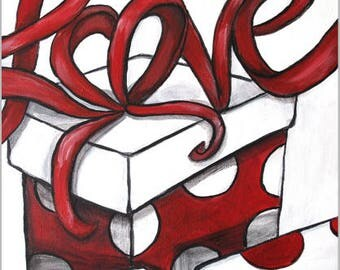 "Love Gift Wrap original acrylic painting 11""x14"" gallery wrapped canvas white, red, black"