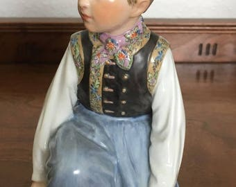 ROYAL COPENHAGEN Amager Boy Figurine DENMARK model 12414 Hand Painted