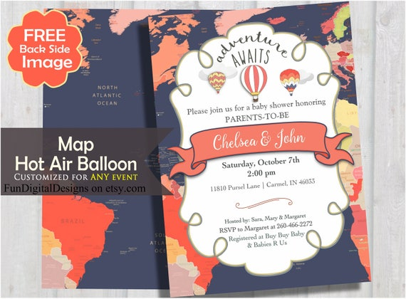 Adventure awaits world map baby shower invitation coral and il570xn gumiabroncs Image collections