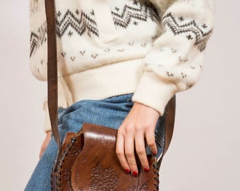 Vintage 1970's Floral Tooled Leather Saddle Bag - www.brickvintage.com