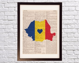 Romania Dictionary Art Print - Bucharest Art - Print on Vintage Dictionary Paper - Romanian Flag, Any Color - Cluj-Napoca, Timisoara, Iasi