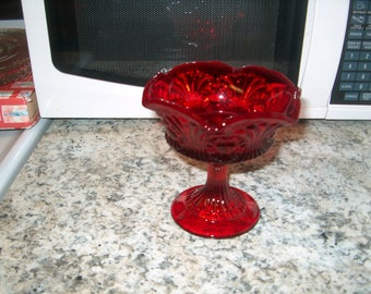 Vintage Red Glass Compote