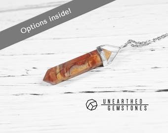 Petrified Wood Necklace - Men's Necklace, Jewelry Gift Ideas, Brown Statement Necklace Pendant, Petrified Wood Jewelry