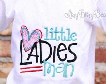 Valentines Boys Shirt - Little Ladies Man - Boys Valentines Shirt - Embroidered Red Blue Heart
