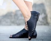 Black Leather Sandals, Lace Sandals, Summer Flats, Handmade Sandals, Black Sandals, Summer Shoes, Tie Sandals, Strappy Sandals, Talula