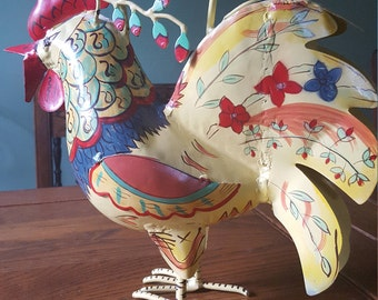 Hand painted vintage rooster watering can.