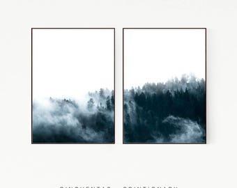 Set of 2 Prints Pine Trees Wall Deco Nordic Print Poster Scandinavian Art Landscape Wild Blue Green Nature Wilderness Clouds Minimalist 1007