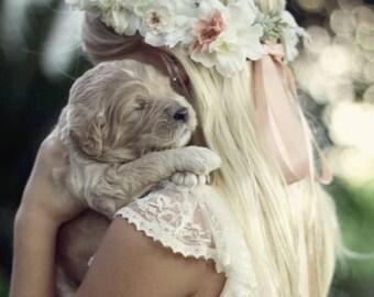 Ivory & Dusty Peach Flower Crown - Boho Bridal Flower Crown - Ivory Flower Girl Headpiece - Wedding Hair Piece - Dusty Peach and Grayed Jade