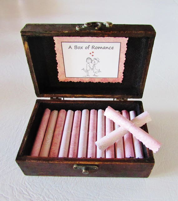 A Box of Romance for Her, Wife Birthday, Wife Valentine, Wife Anniversary, Date Night Ideas AND Sexual Favors in Wood Chest, Girlfriend Gift
