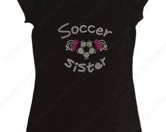 """Women's Rhinestone T-Shirt """" Soccer Sister with Pigtails """" in S, M, L, 1x, 2x, 3x"""